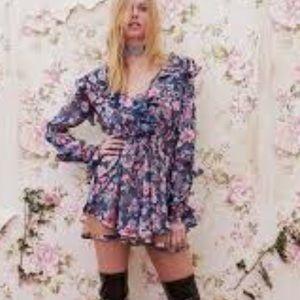 For Love And Lemons Flora Drawstring Mini Dress